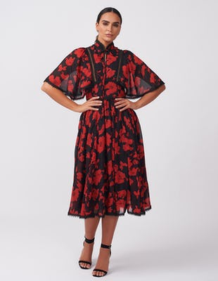 BLACK RED FLORAL UNIQUE AW2020 DRESS MIDI