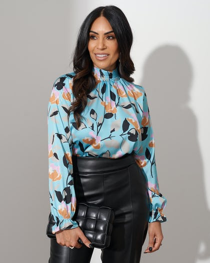 Turquoise Floral Print Blouse