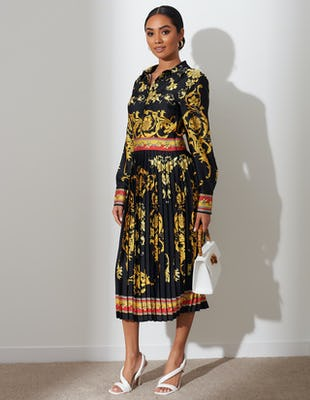Black Oriental Print Midi Dress