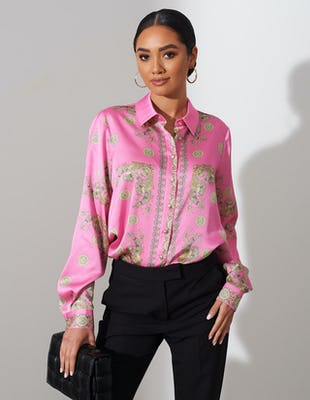 Pink Baroque Print Blouse
