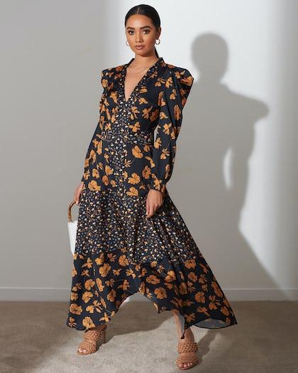 Mustard Floral Satin Maxi Dress