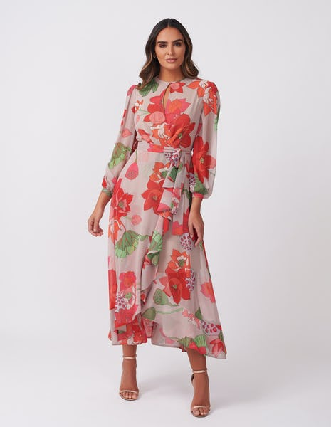 Taupe & Orange Floral Dress