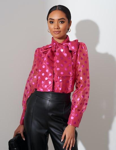 Pink Sheer Spot Bow Blouse