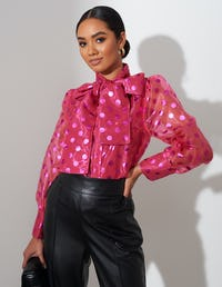 Pink Sheer Spot Bow Blouse