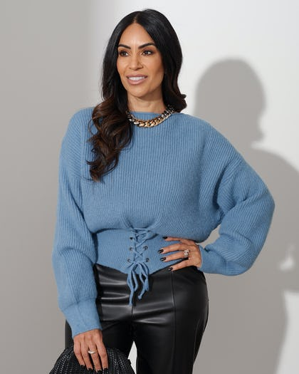 Blue Slash Neck Jumper With Lace Up Detail