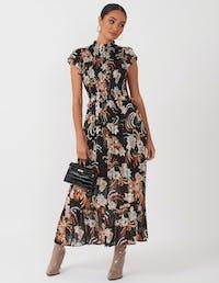 Black Boho Floral Midi Dress