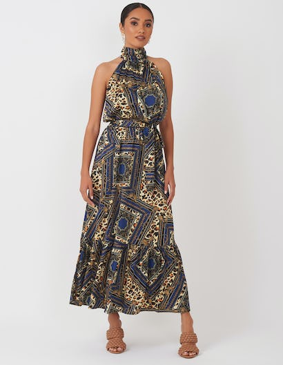 Blue Multi Print Halterneck Dress
