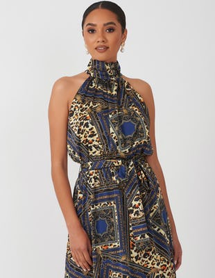 BLUE CHAIN PRINT UC AW2020 DRESS MAXI