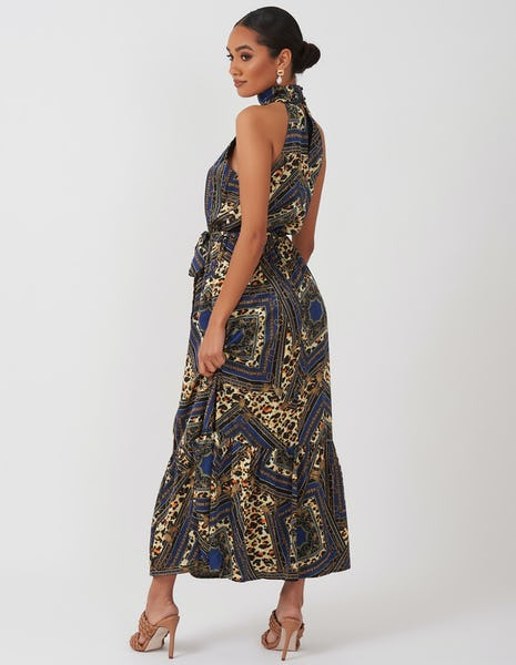 Blue Multi Print Halterneck Dress