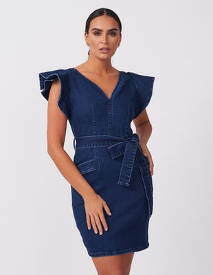 Denim Frilled Tie-Waist Dress