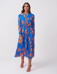Blue and Orange Leaf Print Midi Dress
