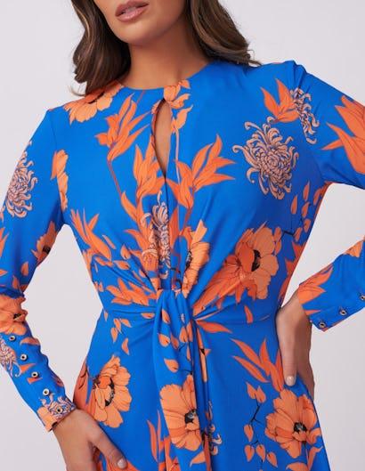 Blue and Orange Leaf Print Midi Dress