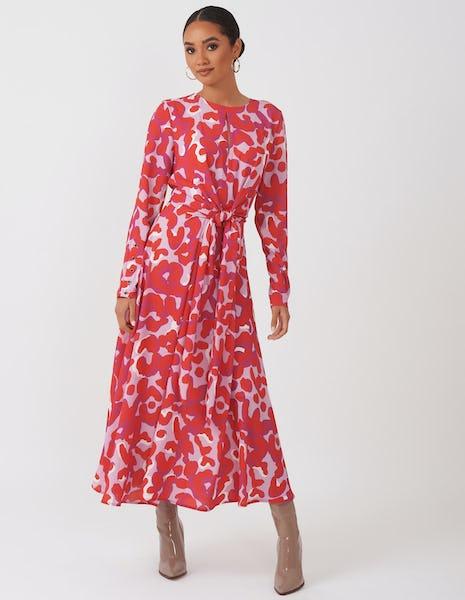 Lilac & Red Print Dress