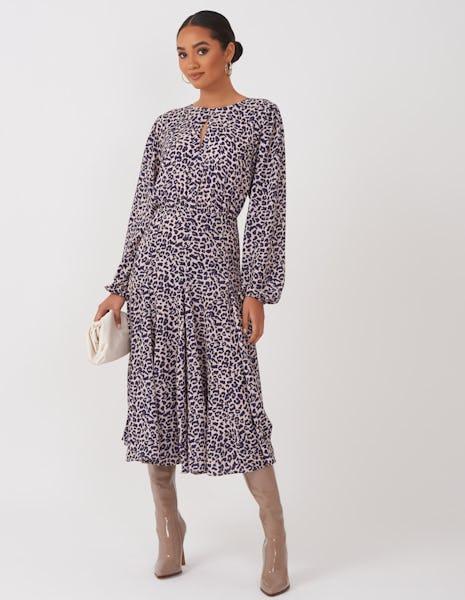 Beige and Navy Leopard Print Midi Dress