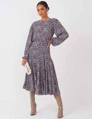 Beige and Navy Leopard Print Midi Dress