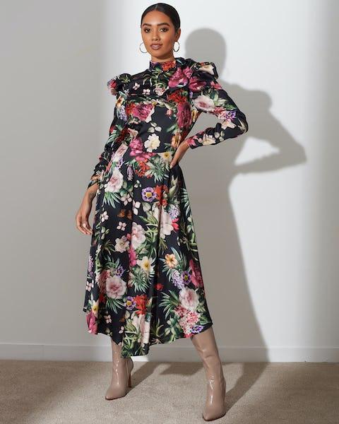 Floral Print Bow Tie Maxi Dress