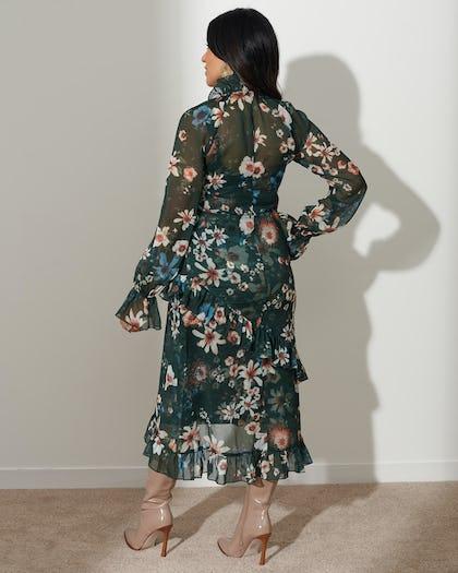 Dark Green Floral Bow Dress