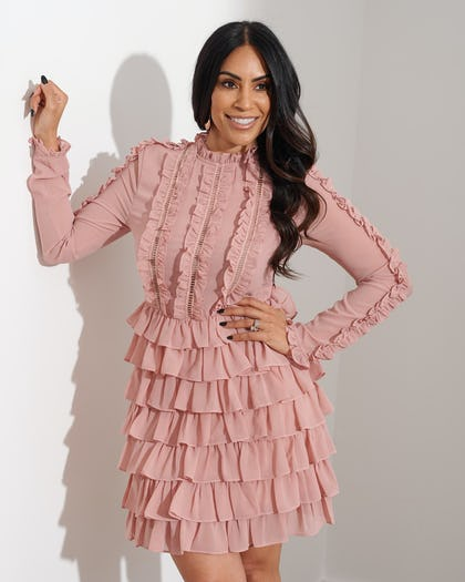 Dusky Pink Frilled Dress