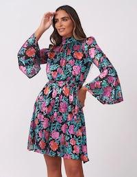 Dark Floral Applique Mini Dress