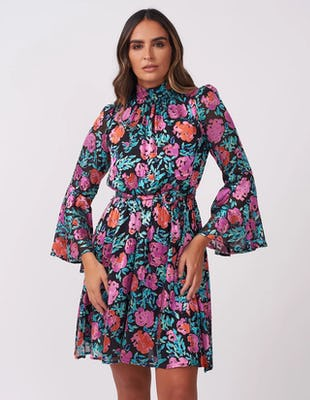 Dark Floral Applique Mini Dress