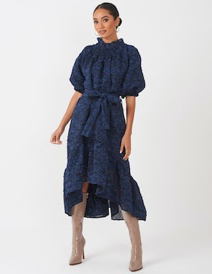Prussian Blue Crepe Midi Dress