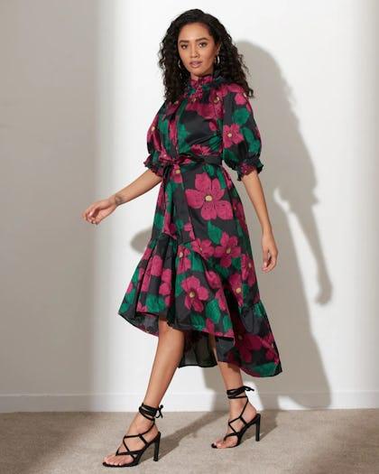 Floral Print Crepe Midi Dress
