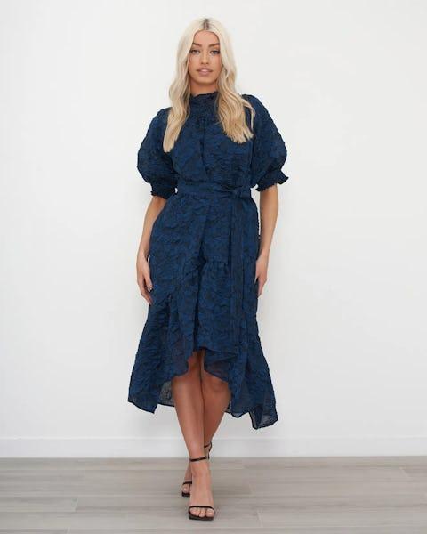 Prussian Blue Crepe Midi Dress