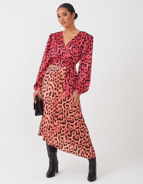 Two Tone Leopard Wrap Dress