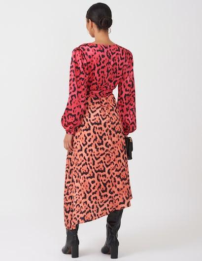 Two Tone Leopard Wrap Dress