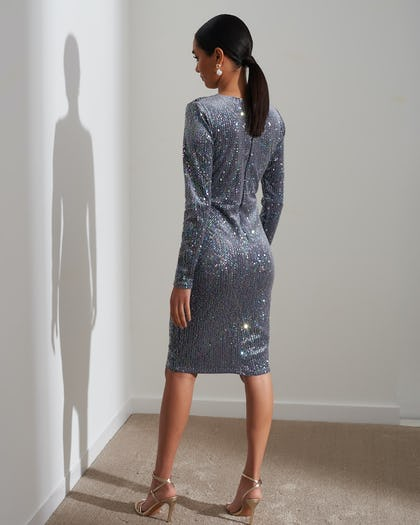 Silver Sequin Iridescent Wrap Dress