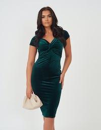 Emerald Green Velvet Midi Dress