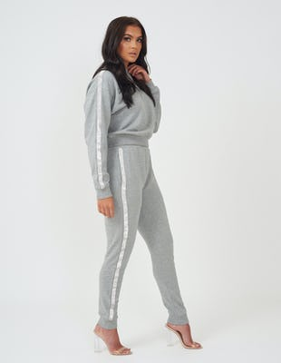 Grey Sequin Panel Lounge Set