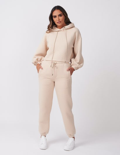 Beige Quilted Lounge Set