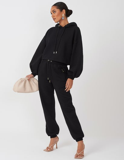 Black Quilted Lounge Set