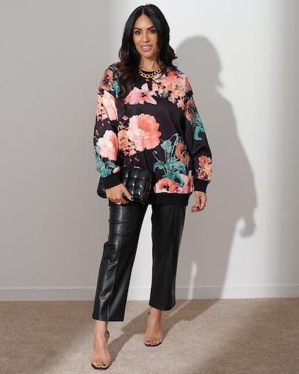 Black Floral Sweatshirt