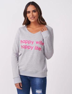 Grey Happy Wife, Happy Life Slogan Jumper