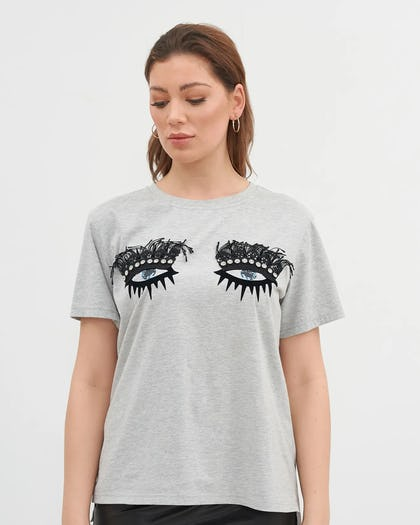Grey Jewelled Eye Motif T-Shirt