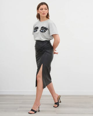 Grey Jewelled Eye Motif T-Shirt