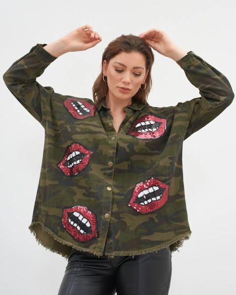 Khaki Camouflage Print Shirt with Lips Motif