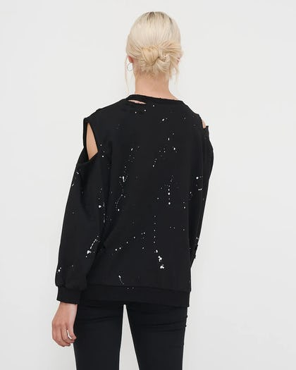 Black Cold Shoulder Eye Sweatshirt