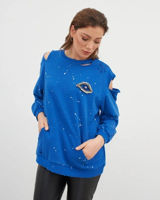 Cobalt Blue Cold Shoulder Eye Sweatshirt