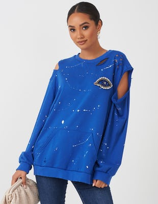 Cobalt Blue Cold Shoulder Eye Sweatshirt