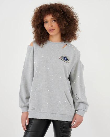 Grey Cold Shoulder Eye Sweatshirt