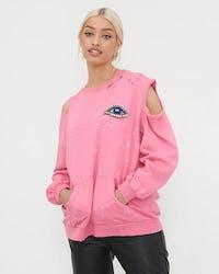 Pink Cold Shoulder Eye Sweatshirt