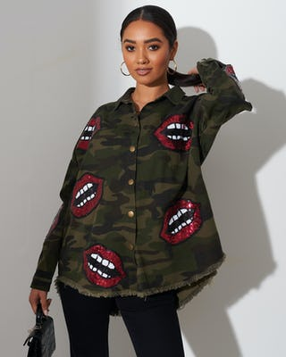 Khaki Camouflage Print Shirt with Lips Motif