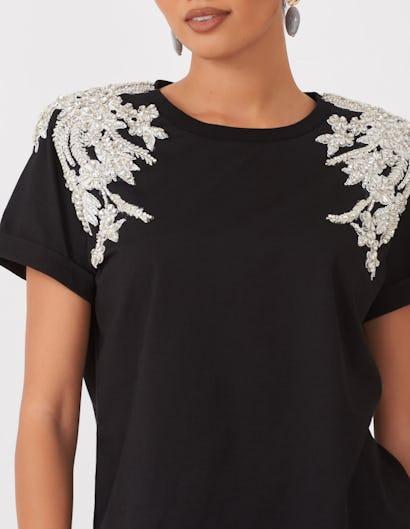 Black Jewelled Shoulder T-shirt