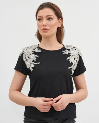 Black Jewelled Shoulder T-shirt
