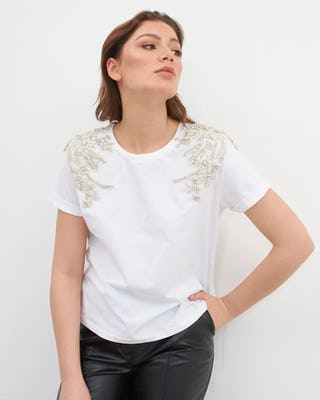 Ivory Jewelled Shoulder T-shirt