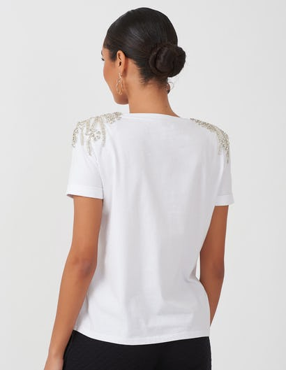 Ivory Jewelled Shoulder T-shirt