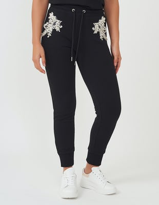 Black Jewelled Flower Jogging Bottoms